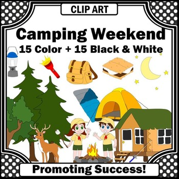 Camping Clip Art, Campers Clipart, Fishing Pole Clipart, Summer Clip Art