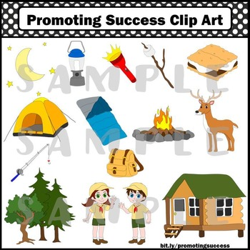 Camping Clipart Tent, Campers, S'Mores, Deer, Campfire, Flashlight