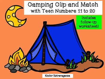 Camping Clip and Match with Teen Numbers