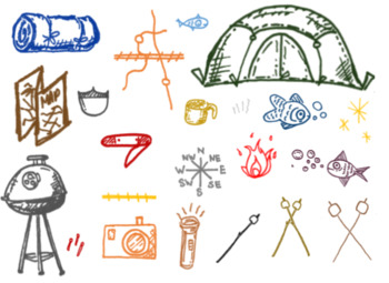 Camping Clipart, Images, Roadtrip, Add to Slide Deck, Printables, Labels Visuals