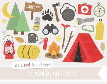Camping Clipart; Tent, Camp, Lantern, Fire, Campfire, Axe, Compass, Flashlight