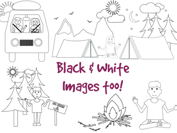 Camping Clipart With Black White Images Included
