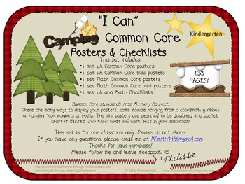 Camping Common Core I-Can Posters and Checklists: Kindergarten