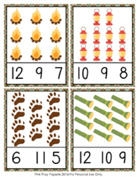 Camping Count and Clip Cards Numbers 1-12