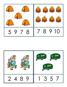 Camping Counting ... Clothes Pin games