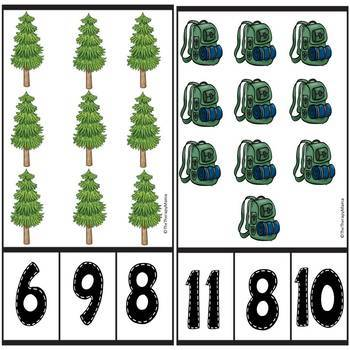 Camping Themed Count and Clip Number Cards