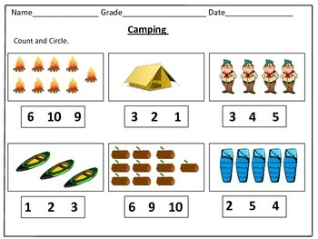 Camping Counting Worksheets (1-20): by Kids' Learning Basket | TpT