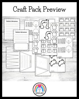 Camping Craft and Writing Pack: Scouts, Tent, Flashlight, Fishing