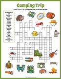 CAMPING THEMED Crossword Puzzle Worksheet Activity - End of the Year Fun!
