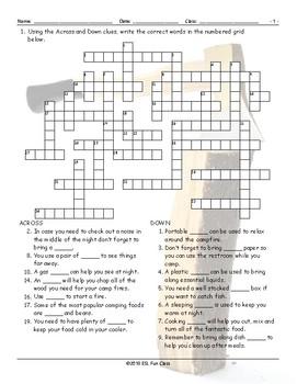 Camping Crossword Puzzle