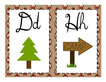 Camping Cursive Alphabet Strip