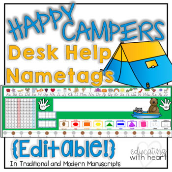 Editable Camping Desk Help Name tags