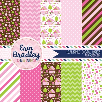 Camping Digital Papers Pink