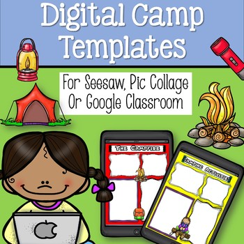 Camping Digital Templates for Pic Collage, See Saw, Google Slides