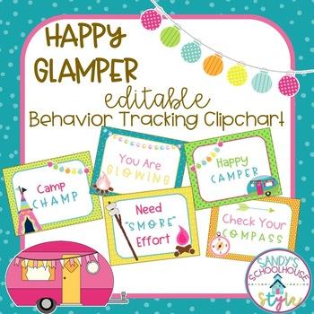 Camping EDITABLE Behavior Tracking Clipchart-Classroom Theme Decor