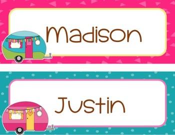 Camping Classroom Theme Editable Name Plates