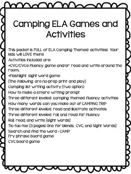 Camping Themed Review Games