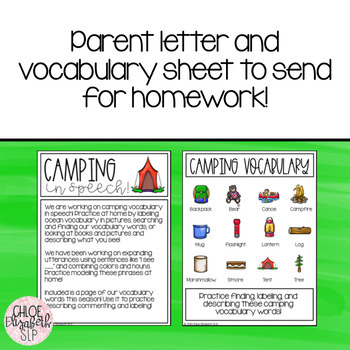 Camping Early Language Activities!
