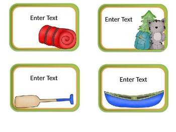 Camping Editable Labels and Cards