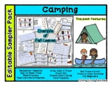 Camping - Editable Resource Sampler Pack - 13 pages *o