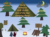 Camping End of the Year invitations