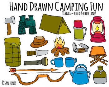 Camping Equipment Hand drawn includes black & white line art!