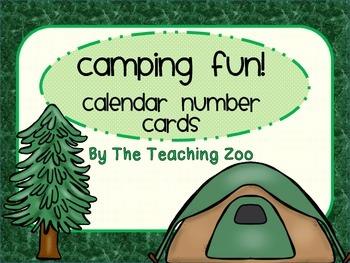 Camping Fun! Calendar Number Cards