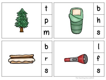 Camping Fun! Clip & Learn Beginning Sounds Task Cards