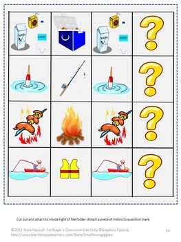 Summer Camping, Interactive File Folder Games, Summer Review, Special Education