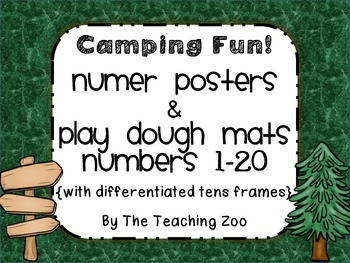 Camping Fun! Number Posters & Play dough mats 1-20  {differentiated 10s frames}