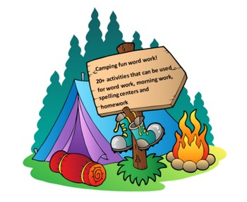 Camping Fun Word Work Packet – 10 words, no prep spelling packet, 50+ pages