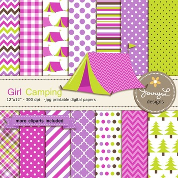 Camping Girl digital paper and clipart