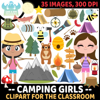 Camping Girls Clipart, Instant Download Vector Art, Commercial Use Clip Art