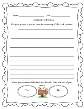 Camping Graphic Organizer and Book Summary Sheet