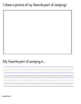 Camping Handwriting Worksheet Packet Manuscript (Zaner-Bloser)