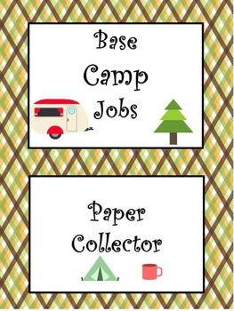 Camping Jobs Clip Chart - Space Saving & Upper Elementary