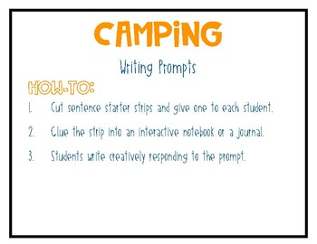 Camping Journal Writing Prompts
