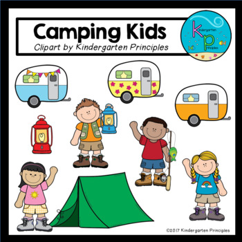 Camping Kids Clipart Set