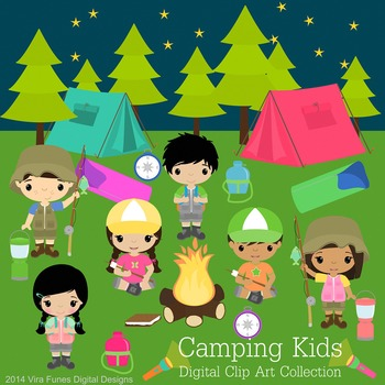 Camping Kids Digital clip art