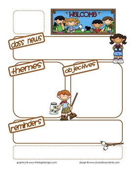 Camping kids newsletter template with headings by 2care2teach4kids.