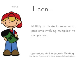 Camping Kids Theme 4th grade math Common Core Posters fourth Grade Standards