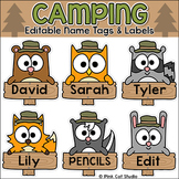Camping Theme Classroom Student Name Tags Editable - Woodland Animals Labels