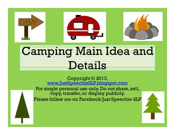Camping Main Idea and Details