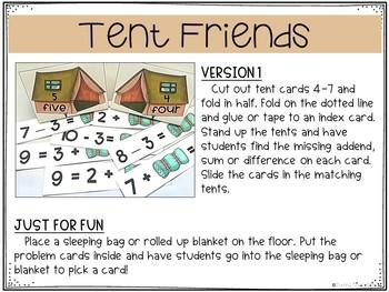 Camping Math Center Activities