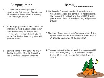 Camping Math Word Problems