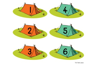 Camping Math and Literacy File Folder Games