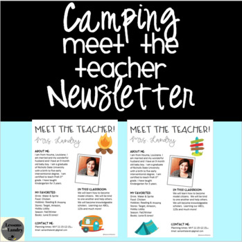 Camping Meet the Teacher Newsletter
