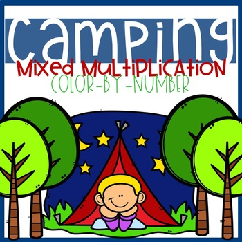 Camping Mixed Multiplication Color-By-Number