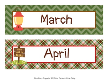 Camping Monthly Calendar Headers