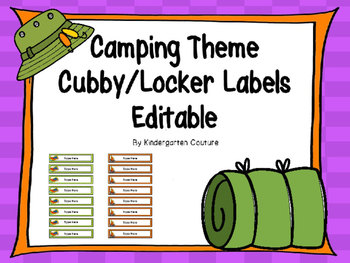 Camping Name Labels -Editable (for cubby or lockers)